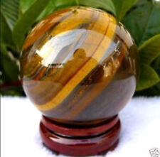 48-50mm Natural tiger's eye quartz crystal sphere ball + free stand home decor
