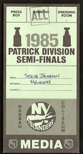 1985 New York Islanders Media Press Pass Ticket RARE Steve Jacobson Newsday MINT