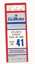 Washington Bullets vs Atlanta Hawks Ticket Stub 3-28-80