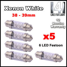 5x 36mm 37mm INTERIOR LIGHT FESTOON BULB 6 LED 12v WHITE 239 272 NUMBER PLATE