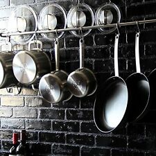 "47"" Stainless Steel Wall Mount Pot Hanger Pans Holder Storage Rack Organizer"