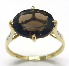SYJEWELLERY 9CT SOLID YELLOW GOLD OVAL SMOKY TOPAZ & DIAMOND RING SIZE N R1043