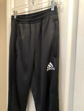 Men's ADIDAS Gray Skinny Track Pants with 3 Gray Stripes - Size Small
