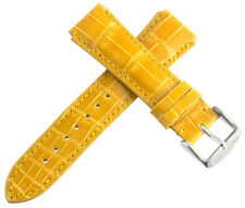 Chase-Durer Womens 18mm Mustard Yellow Genuine Alligator Leather Watch Band