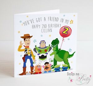 PERSONALISED TOY STORY Birthday Card Childs Girls Boys 1 2 3 4 5 6 7 8 9