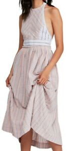 Free People Womens Dress Pink Size Small S Maxi Open-Back Plaid $128- 604