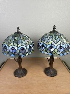 Pair of Tiffany Style Lamps in blues, greens and purples