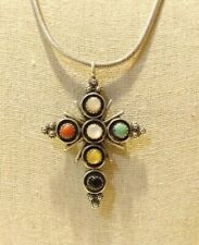 Mens 925 STerling Silver Turquoise Double Sided Cross Pendant Necklace 30in.