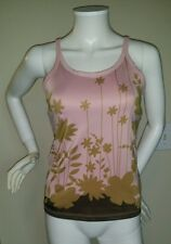 ATHLETA Pink w/ Brown Flowers Sports Tank Top Built in Bra sz S Made in USA $49