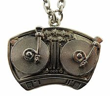 Turn Tables DJ Disco Music Silver Necklace Pendant Dog Tag Rock Rebel Gothic New