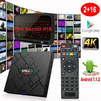 Android 7.1.2 Quad Core Backlit H18 S905X 2+16G 4K Streamer HDMI TV BOX MINI PC