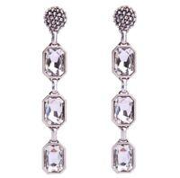 SILVER WHITE CLEAR EMERALD CUT Diamante Crystal Rhinestone Chandelier Earrings