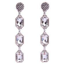 DESIGNER SILVER EMERALD CUT Diamante Crystal Rhinestone Chandelier Drop Earrings