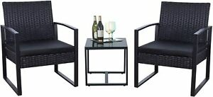 3 Piece Patio Set Modern Outdoor Furniture Patio Chairs With Coffee Table - Blac