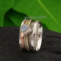Larimar Stone Solid 925 Sterling Silver Spinner Ring Meditation Ring Size vv010