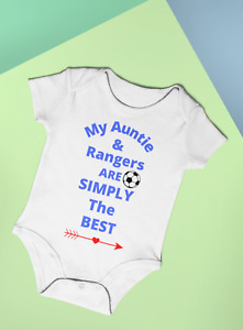 FOOTBALL MY AUNTIE & RANGERS ARE SIMPLY THE BEST FUN BABY BODYSUIT VEST  COTTON