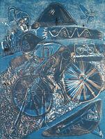 """DDR-Kunst. """"Mitternachtstraining"""", 1988. Wolfgang HENNE (*1949 D), handsigniert"""