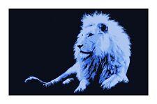 African Lion Blue Animal Pop Art Signed Ltd. Ed. Print by John Lathrop