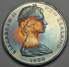 1980 NEW ZEALAND 50 CENTS PROOF BU UNC BEAUTIFUL COLOR TONED COIN