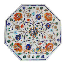 """15"""" Marble Side Coffee Table Top Multi Stone Floral Inlay Art Hallway Decor W270"""