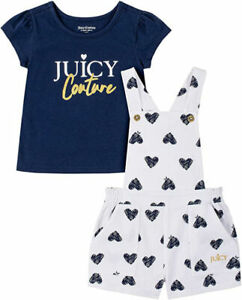 Juicy Couture Girls 2pc Shortall Set Size 2T 3T 4T 4 5 6 6X $65