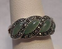 Estate~Green Jade & Marcasite Accents 925 Sterling Silver Ring Size 7.5