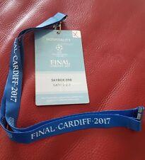2017 CHAMPIONS LEAGUE FINALE Biglietto Scatola VIP Pass e cordino REAL MADRID JUVENTUS