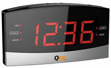 "NEW QFX CR-32 AM/FM Dual Alarm Clock Radio +1.8"" Big Red LED Display +AUX-in"
