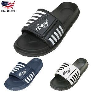 New Men's Comfort Open Toe Flat Slide Sandals Adjustable Slip on Slippers