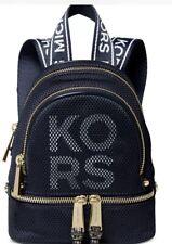 New Michael Kors Rhea Zip MINI Backpack Logo polyester Bag admiral white silver