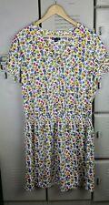 Gap Women's Size XL Spring Drop Waist Dress Floral Yellow Gray Pink Elastic