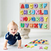 Kids Wooden  Colorful Peg Educational Jigsaw Puzzle about Alphabet English