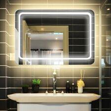 Miroir Mural Lumineux 80 x 60cm Salle de Bain Interrupteur Tactile LED Anti-Buée