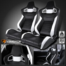 [Left+Right] Black & White PVC Leather Reclinable Bucket Racing Seats+Silders