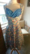 Lovely Lindy Bop Ophelia Cotton Stretch Floral Blue Pink Swing Circle Dress 10