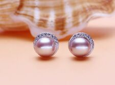 9mm Sterling Silver Freshwater Pearl Cubic Zirconia Round Stud Earrings Gift J18