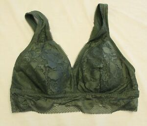Aerie Women's Floral Lace Padded Bralette CD4 Green Size XL NWT