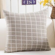 """18"""" Cushion Cover - Grey with White Lines - Rectangular Geometric Pattern"""