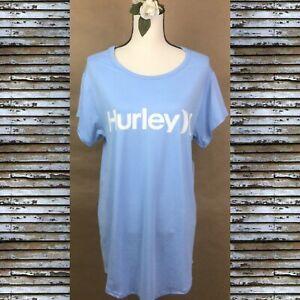 HURLEY Soft Blue Sleep / Night Shirt Pajamas Loungewear Women's Short Sleeve SP