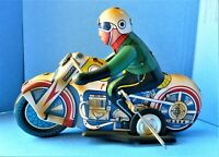 LARGE VINTAGE WINDUP TIN LITHO MOTORCYCLE & RIDER, 1960s China (WORKS VERY WELL)