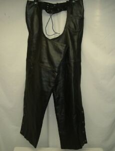 Classic Leather Gear First Leather Apparel Men's Chaps Large Biker Motorcycle