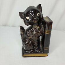 Vintage Ceramic Cat Bookend MCM Black Gold Accents Pen Holder Japan