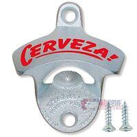 CERVEZA Beer Bottle Opener Starr X Cast Iron Wall Mount Zinc Plated +Screws