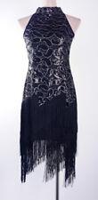 20sGatsby 1920's Flapper Cocktail Charleston Black gold Dress Fringed Plus Size