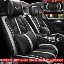 Deluxe Edition Leather Full Surround Car Seat Cover Cushion Set For 5 Seat Car