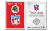 BUFFALO BILLS NFL Helmet JFK Half Dollar U.S. Coin w/ NFL Display Case LICENSED