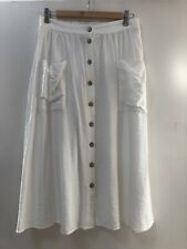 New Look White Viscose Midi Skirt With Pockets Size 12