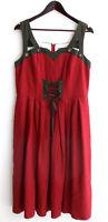 Damen Trachten Kleid ärmellos Leinen weinrot Gr. 42 v. Alphorn