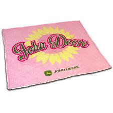 "John Deere 48"" x 60"" Pink Sherpa Blanket"