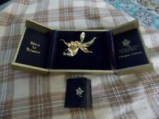 Vintage ROYAL ORCHID COLLECTION 24K Gold Plated ORCHID PIN/BROOCH W/ Box & Swag